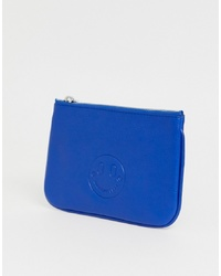 Hill & Friends Hill And Friends Happy Mini Leather Pouch In Blue