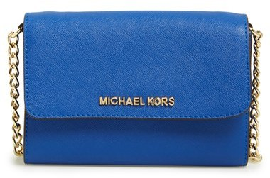 68b3df34980d ... Blue Leather Crossbody Bags MICHAEL Michael Kors Michl Michl Kors Jet  Set Large Phone Saffiano Leather Crossbody Bag ...
