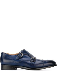 Blue Leather Double Monks