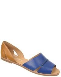 Blue Leather Flat Sandals