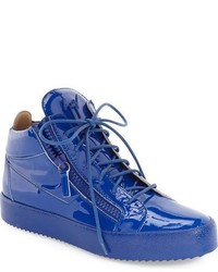 Blue Leather High Top Sneakers