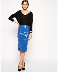 Blue Leather Midi Skirt