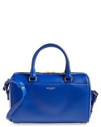 Blue Leather Satchel Bag