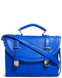 Satchel bag with scallop flap and metal tips blue medium 15322