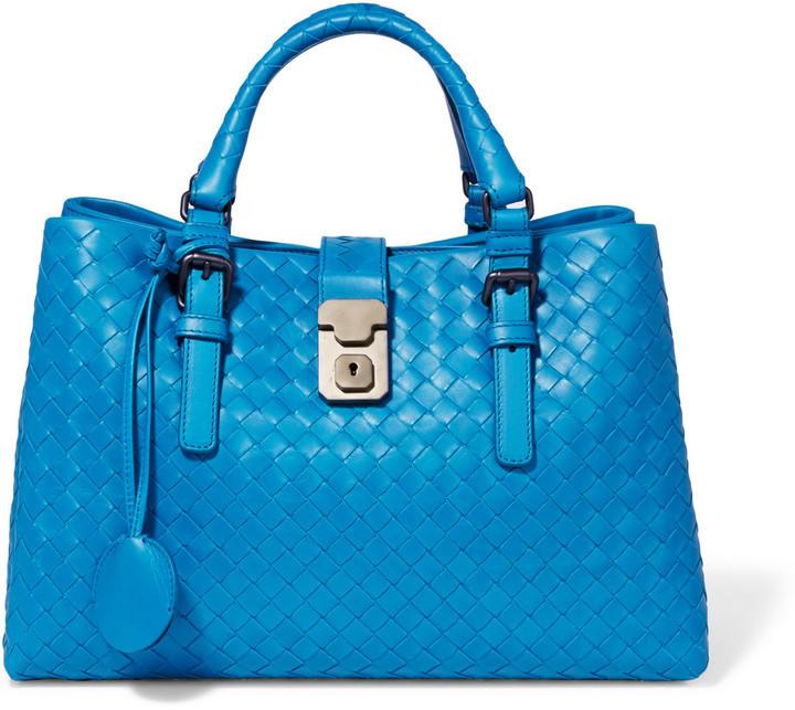9f3f1c4eb768 ... Bottega Veneta Roma Small Intrecciato Leather Tote Blue ...