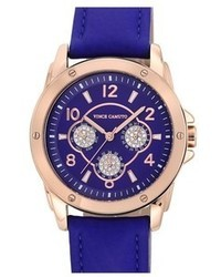 Crystal subdial leather strap watch 42mm medium 48275