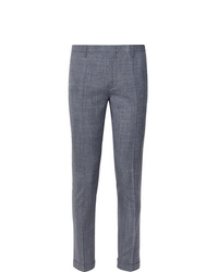 Paul Smith Navy Soho Slim Fit Tapered Puppytooth Wool Silk And Linen Blend Suit Trousers