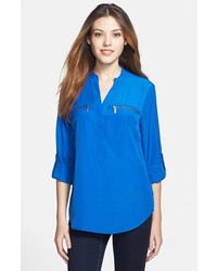 MICHAEL Michael Kors Michl Michl Kors Zip Pocket Blouse Amalfi Blue Large