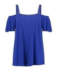 Dorothy Perkins Cold Shouder Print T Shirt Cobalt