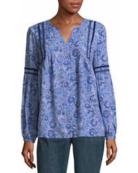 Blue Paisley Long Sleeve Blouse