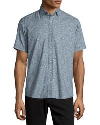 Blue Paisley Short Sleeve Shirt