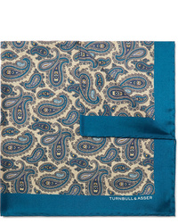 Turnbull & Asser Paisley Print Silk Twill Pocket Square