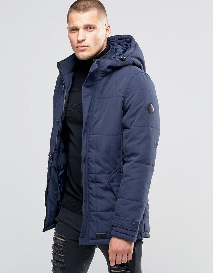 Blend of America Blend Hooded Heavy Parka Jacket Navy | Where to ...