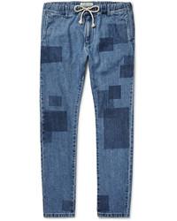 Remi Relief Slim Fit Patchwork Effect Denim Jeans