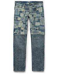 Blackmeans Slim Fit Patchwork Washed Denim Jeans