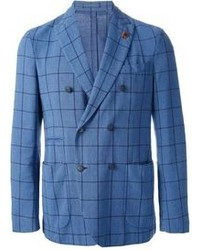 Blue Plaid Double Breasted Blazer