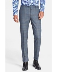 Blue Plaid Dress Pants
