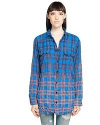 Saint Laurent Boxy Check Flannel Shirt