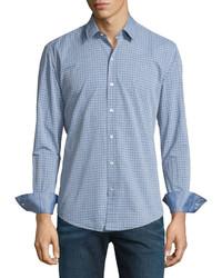 Hugo Boss Dobby Plaid Long Sleeve Sport Shirt Navy