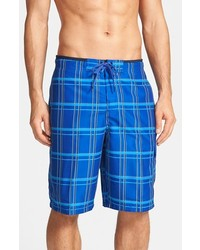 Speedo Classic Plaid Print Board Shorts Surf Blue X Large