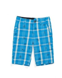 Volcom Faceted Plaid Shorts Electric Blue 6