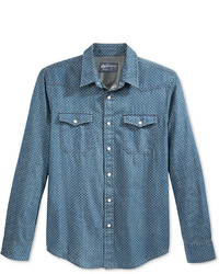 Blue Polka Dot Denim Shirt