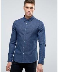 Skinny denim shirt with tonal polka dot medium 1048482