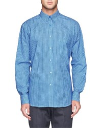 Blue Polka Dot Dress Shirt