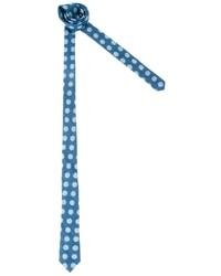 Asos Chambray Tie With Jumbo Polka Dot