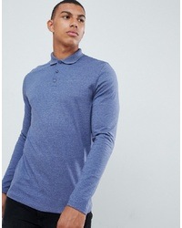 ASOS DESIGN Long Sleeve Jersey Polo In Blue