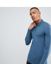 ASOS DESIGN T Sleeve Polo In Jersey In Blue