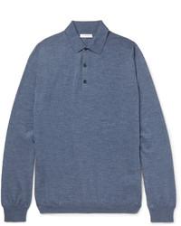 Boglioli Knitted Mlange Virgin Wool Polo Shirt