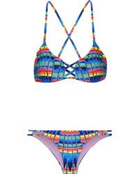 Blue Print Bikini Top