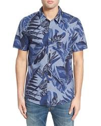 O'Neill Figueroa Short Sleeve Floral Print Chambray Shirt