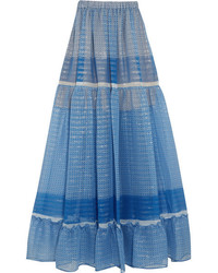 Stella McCartney Elsa Tiered Printed Silk Blend Chiffon Maxi Skirt Blue