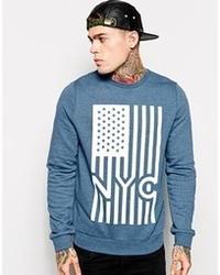 Asos Sweatshirt With Nyc Print Blue