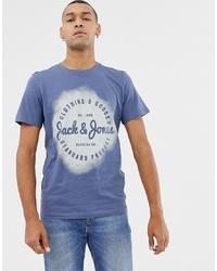 Jack & Jones Logo T Shirt With Spray Print