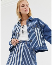 Noisy May Stripe Denim Jacket