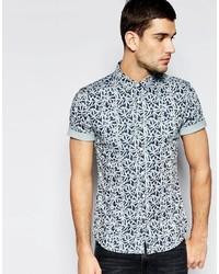 Asos Brand Skinny Denim Shirt With Leaf Print In Short Sleeve