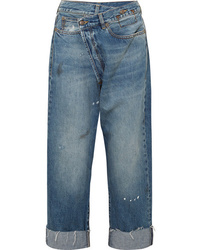 R13 Crossover Asymmetric Distressed High Rise Wide Leg Jeans