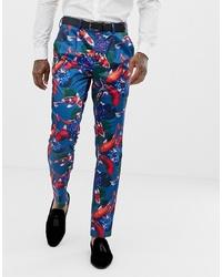 ASOS DESIGN Skinny Tuxedo Suit Trousers In Fish Print