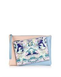 Rose garden print detachable leather clutch medium 283931