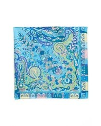 Etro Usa Paisley Silk Pocket Square Blue One Size