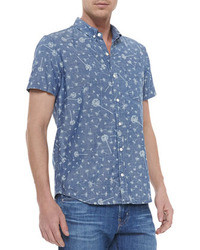 Blue Print Short Sleeve Shirt