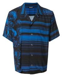 Christian Dada Rose Print Open Collar Shirt