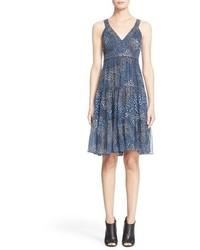 Burberry Brit Ophelia Print Silk Sleeveless Fit Flare Dress