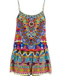 Spirit of ruh embellished printed washed silk playsuit azure medium 687871