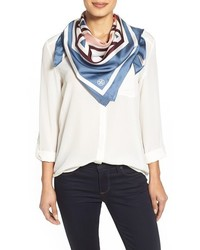 Tory Burch Fret Print Silk Square Scarf