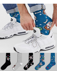 ASOS DESIGN Ankle Socks With Space Dogs 5 Pack