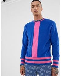 ASOS DESIGN Sweatshirt In Towelling With Stripe Ribs In Blue